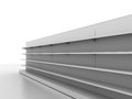 Retail backgrounds standard supermarket shelving system high res render Stock Image