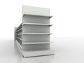 Retail backgrounds standard supermarket shelving system high res render Royalty Free Stock Photo