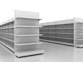 Retail backgrounds standard supermarket shelving system high res render Stock Photo