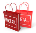 Retail bags show commercial sales and commerce showing Stock Photo
