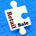 Retail sale puzzle shows consumer selling or sales showing Stock Photo
