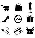 Retail and shopping icons depicting a cart bags tailors dummy stiletto shoe dress size gift hanger credit card Royalty Free Stock Photos
