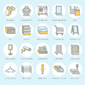 Retail store supplies flat line icons. Trade shop equipment signs. Commercial objects - cash register, basket, scales