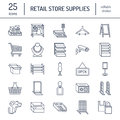 Retail store supplies line icons. Trade shop equipment signs.