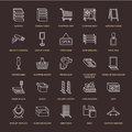 Retail store supplies line icons. Trade shop equipment signs. Commercial objects - cash register, basket, scales