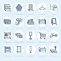 Retail store supplies line icons. Trade shop equipment signs. Commercial objects - cash register, scales, shopping cart