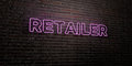 RETAILER -Realistic Neon Sign on Brick Wall background - 3D rendered royalty free stock image