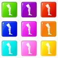 Retentive bandage icons 9 set