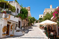 Rethymno crete july tourists have a rest at the local restaurant on july in the old town of rethymno city crete islan island Royalty Free Stock Photo