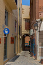 Rethymno, Greece - August 5, 2016: Narrow venetian street in o