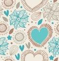 Reticolo senza giunte decorativo floreale fondo di scarabocchio con i cuori ed i fiori Immagini Stock
