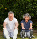 Retired couple doing their exercises Royalty Free Stock Images
