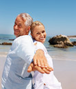 Retired couple having fun at their vacation Royalty Free Stock Photos