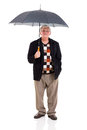 Retired man umbrella holding on white background Stock Photos