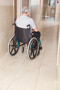 Retired man on wheelchair at hospital Royalty Free Stock Photos