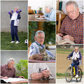 Retiree activities collage of old man in retirement Royalty Free Stock Image