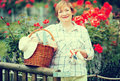Retiree gardener basket portrait of cheerful woman with and gardening tools standing outdoors Stock Image