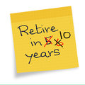 Retirement age postponed delayed later ever more on sticky note Stock Images