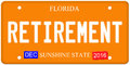 Retirement florida license plate an imitation with december stickers and written on it making a great concept words on the bottom Royalty Free Stock Photography