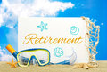 Retirement message board on the beach Stock Photography