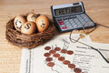 Retirement nest egg with calculator Stock Photo