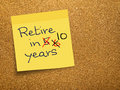 Retirement pension delay sticky note on cork the countdown to age Royalty Free Stock Image