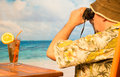 Retirement and pension planning middle age man contemplating on a tropical beach Royalty Free Stock Photography