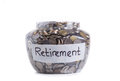 Retirement savings money in jar Royalty Free Stock Photography
