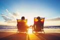 Odchod do dôchodku dovolenka zrelý kupé sledovanie západ slnka