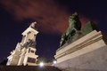 Retiro park night time in madrid Royalty Free Stock Photos