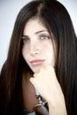 Retrato da senhora lindo com pensamento dos olhos verdes Imagens de Stock Royalty Free