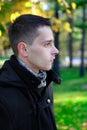 Retrato do homem em autumn park Imagens de Stock Royalty Free
