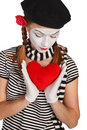 Retrato do mime do dia do Valentim Foto de Stock Royalty Free