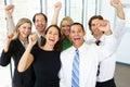Retrato do negócio team in office celebrating Fotos de Stock