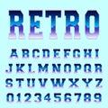 Retro alphabet font template