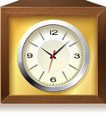 Retro analog clock in wooden box, vector Stock Image