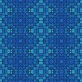 Retro ancient mosaic blue tonality pattern background Stock Images
