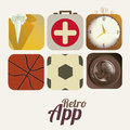 Retro app icons over white background vector illustration Stock Photography