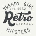 Retro apparel label typographic design