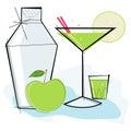 Retro--Art Apple Martini Lizenzfreie Stockfotografie