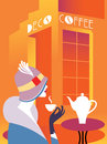 Retro art deco woman sitting at an street cafe woman drinking coffee on the table hot coffee maker lettering signboard deco cof Stock Image