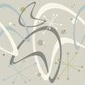 Retro Atomic 1950s Mid Century Vintage Seamless Background Boomerang Starburst