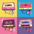 Retro audio cassette tape pink oldschool vector illustration Stock Images