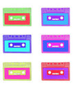 Retro audio cassettes set Stock Images