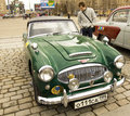 Retro austin healey moscow april car on rally of classical cars on poklonnaya hill april in town moscow russia Royalty Free Stock Photo