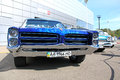 Retro auto show. Blue Pontiac Catalina Royalty Free Stock Photo