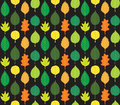 Retro Autumn Leaves Pattern Royalty Free Stock Image
