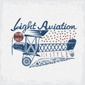 Retro aviation grunge vector design airplane and wings