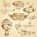 Retro aviation sketch aeronautic transport decorative icons set isolated vector illustration Royalty Free Stock Image