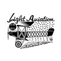 Retro aviation vector design with airplane